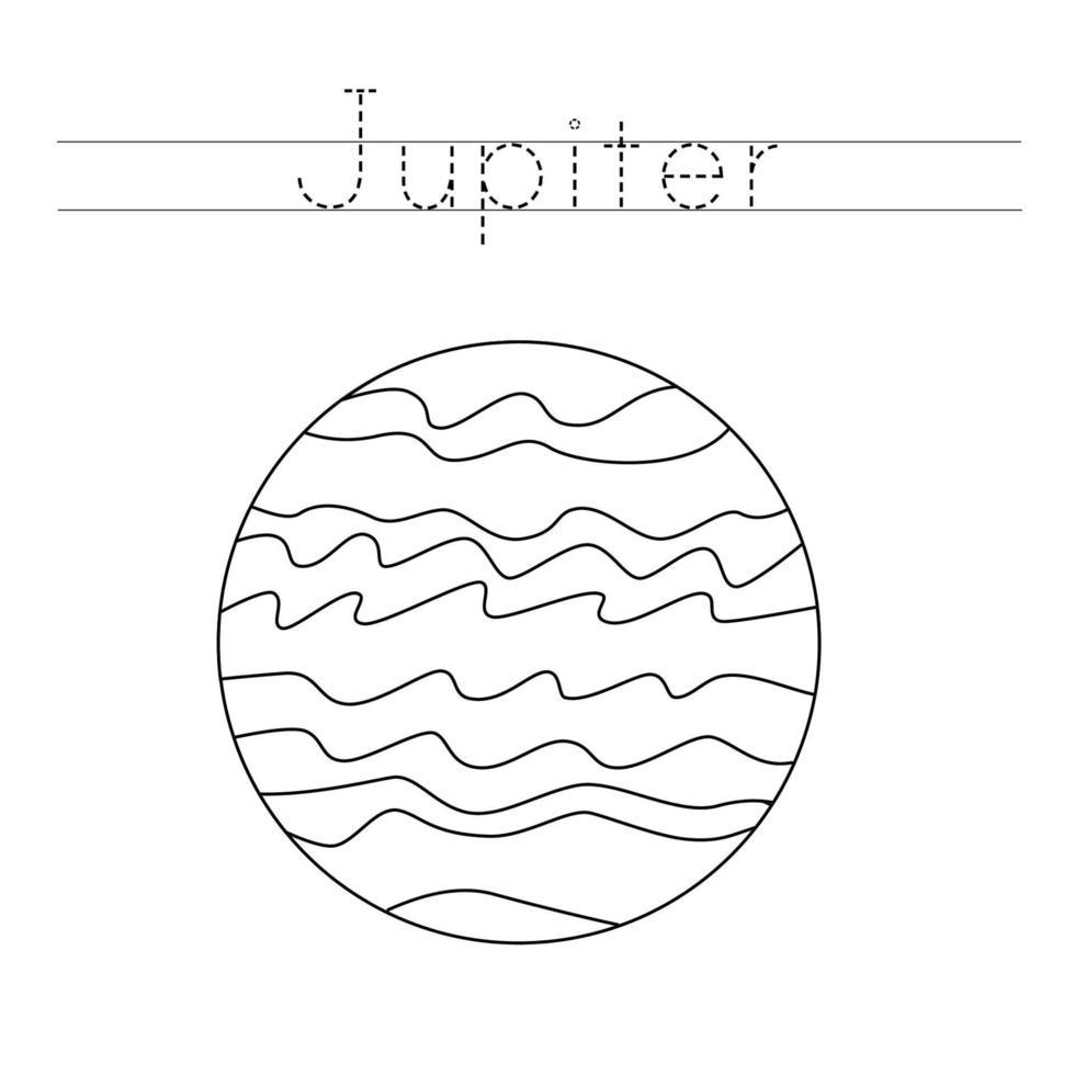 spåra bokstäver med planeten jupiter. skrivpraxis. vektor