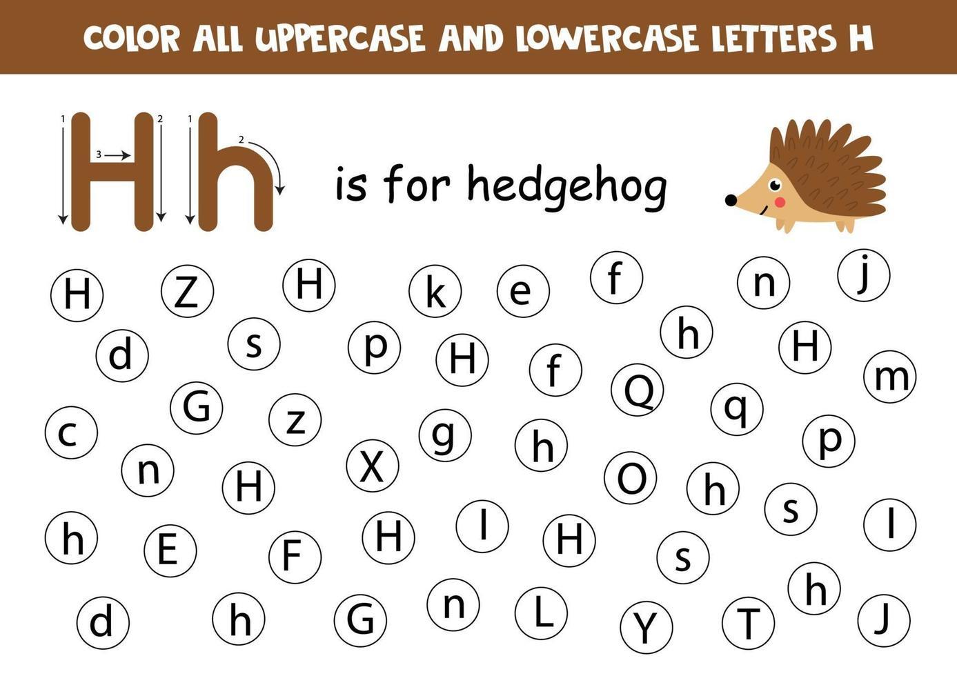 alfabetet kalkylblad. hitta alla bokstäver hh. prickbokstäver. vektor