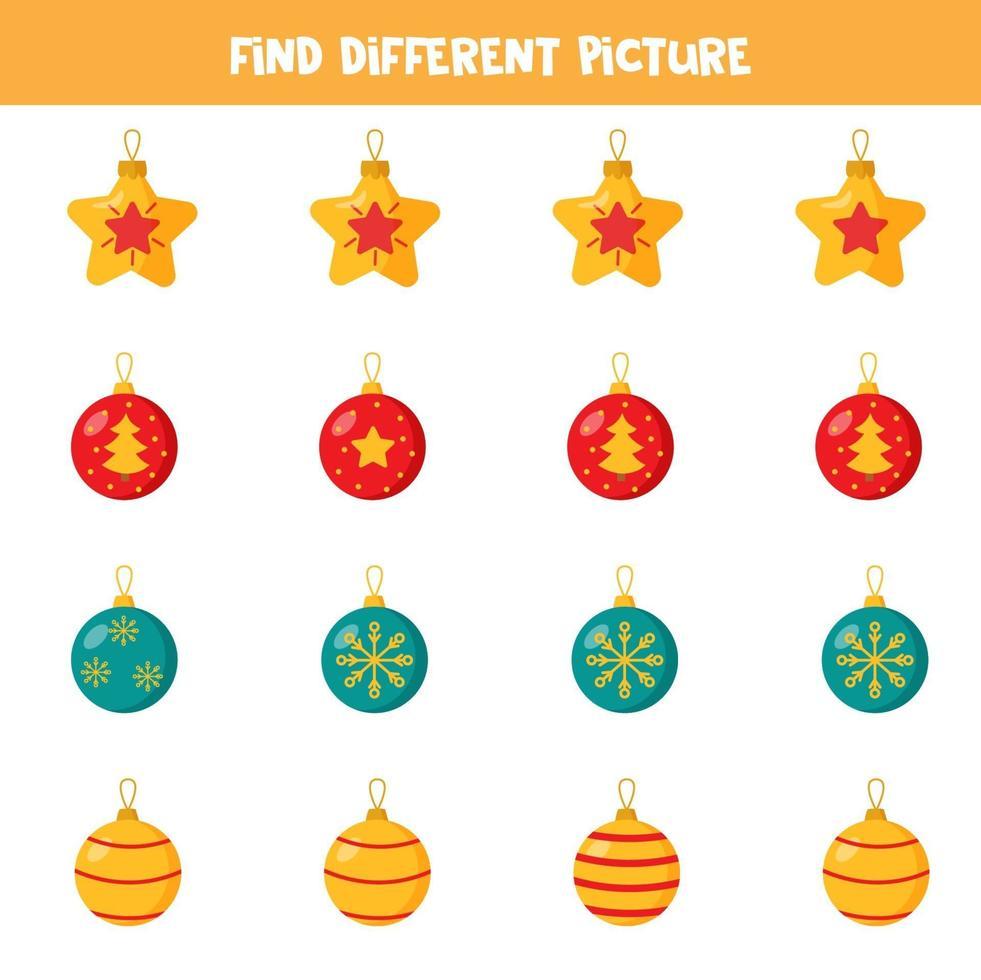 hitta bild som skiljer sig från andra. uppsättning julgranskulor. vektor