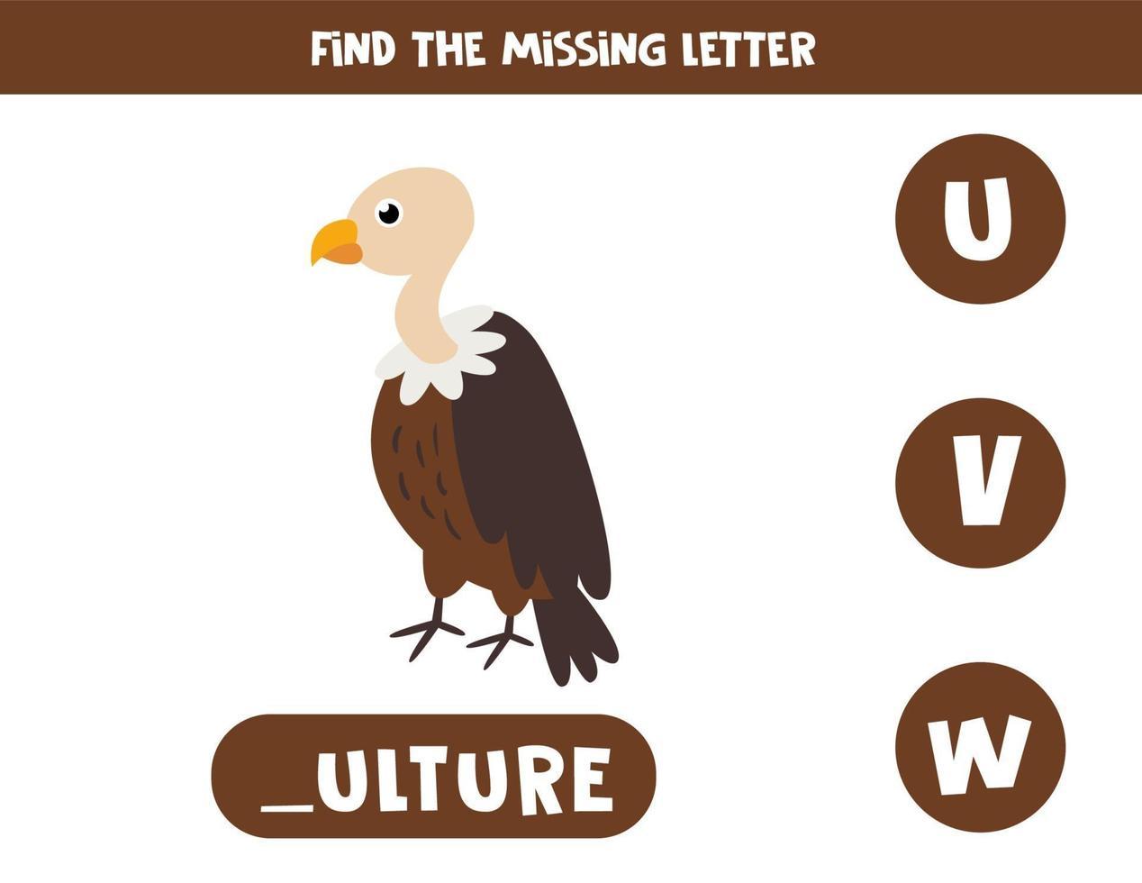 finde fehlenden Buchstaben mit niedlichem Cartoongeier. vektor