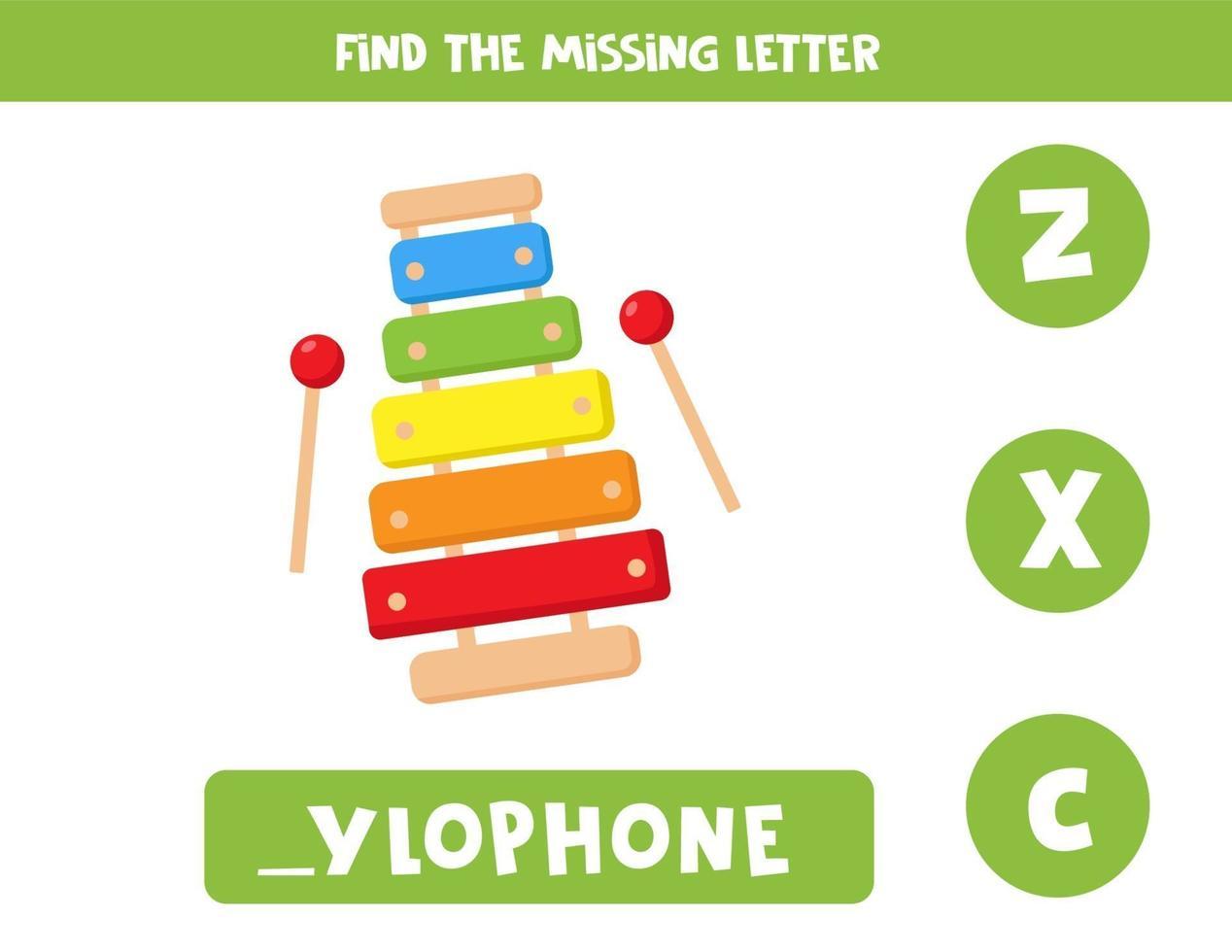 hitta saknad bokstav med söt tecknad xylofon vektor