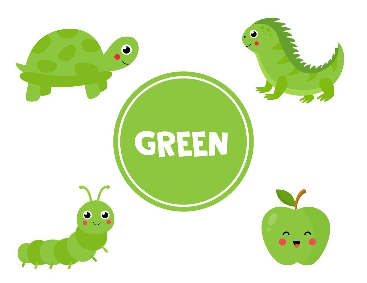 lära sig grön färg för förskolebarn. pedagogiskt arbetsblad. vektor