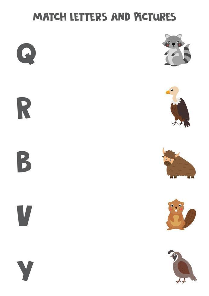 matcha olika djur med alfabetbokstäver. pedagogiskt spel. vektor