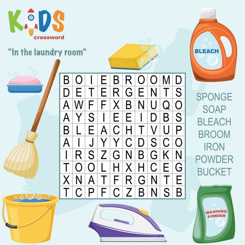 i tvättstugans ordkorsord vektor