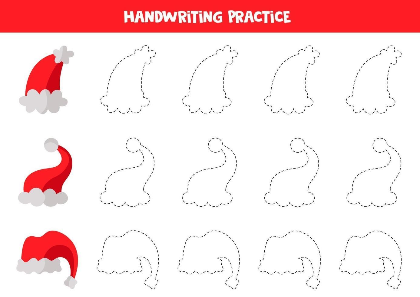 spårningslinjer med röda vinterkepsar. skrivförmåga övning. vektor