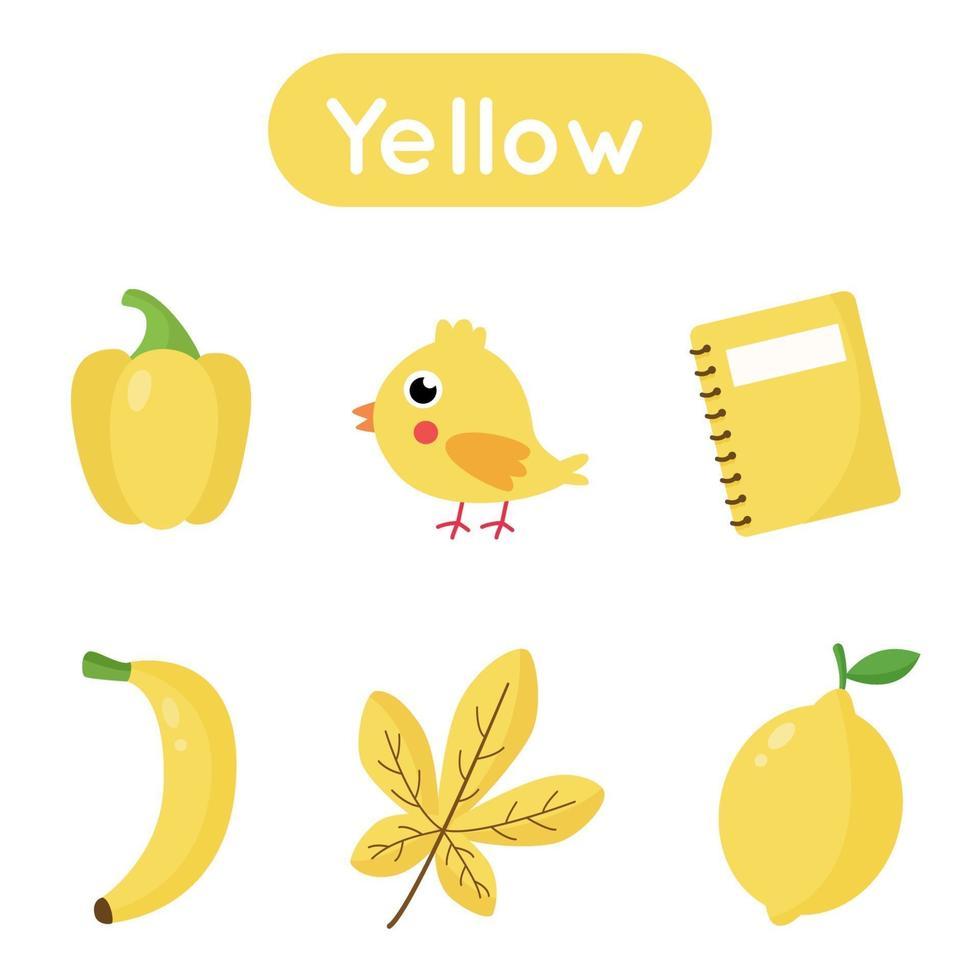 flash-kort med föremål i gul färg. pedagogiskt utskrivbart kalkylblad. vektor