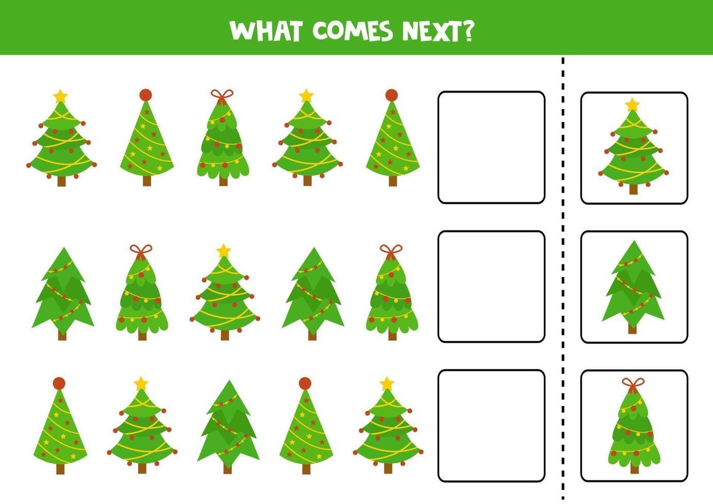 Was kommt als nächstes mit Comic-Weihnachtstannen. vektor