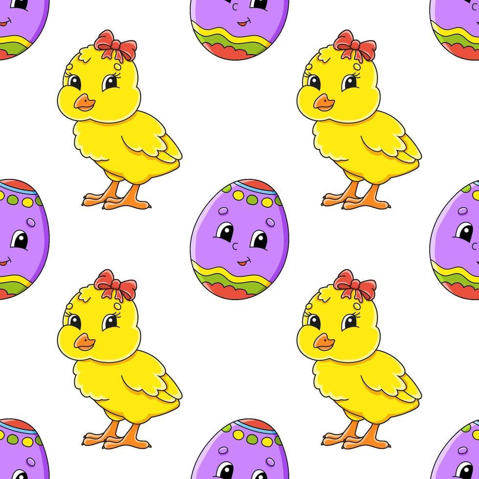 sömlösa mönster med gul kyckling vektor