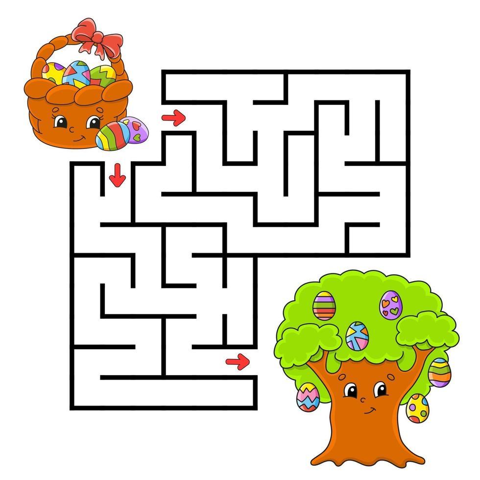 labyrint för barn att fira påsk vektor