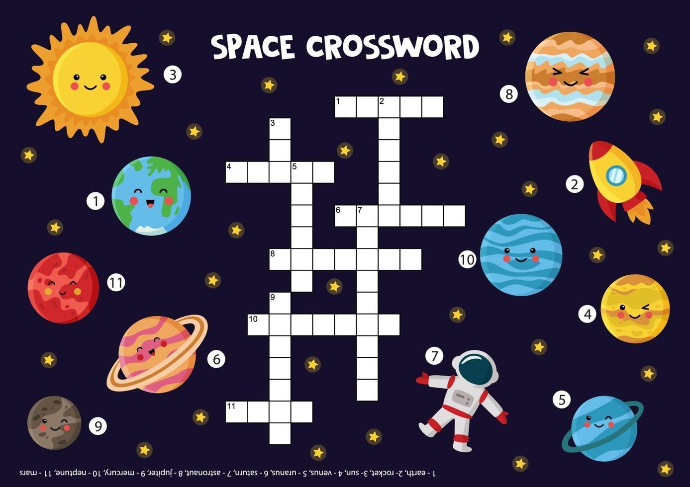 Weltraumkreuzworträtsel für Kinder mit Sonnensystem Planeten, Sonne, Rakete. vektor