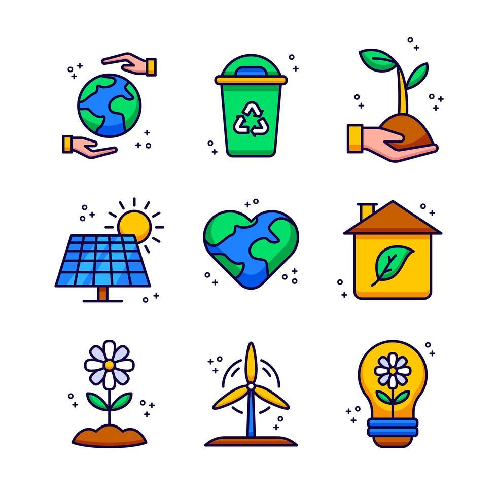 eko energi ikonuppsättning vektor