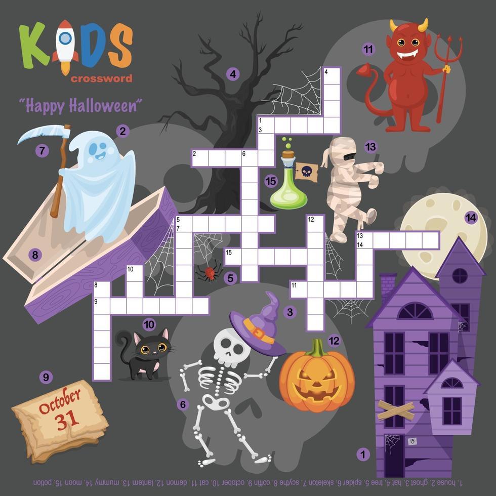 glad halloween korsord vektor