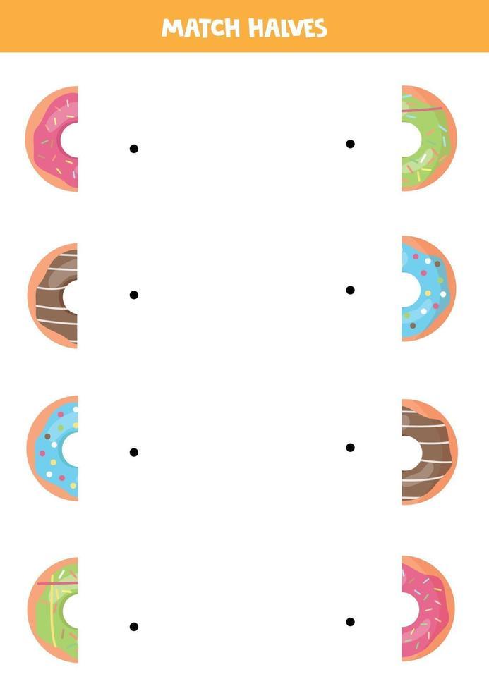 matcha delar av färgglada munkar. logiskt spel för barn. vektor