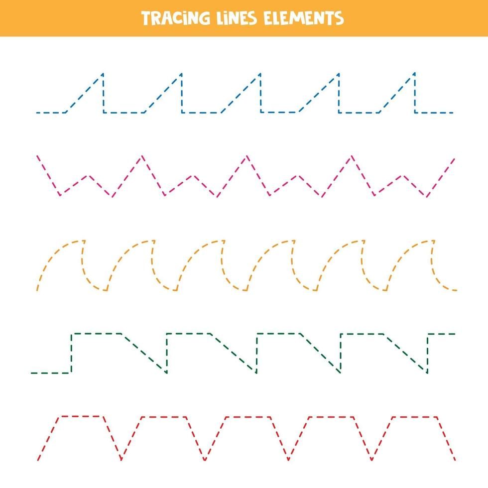 verschiedene Arten von gestrichelten Linien für die Schreibpraxis. Linien verfolgen. vektor