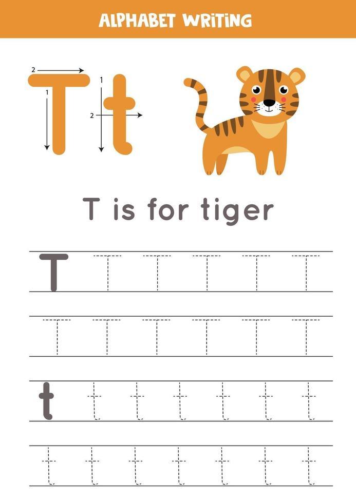 spåra alfabetet bokstaven t med söt tecknad tiger. vektor