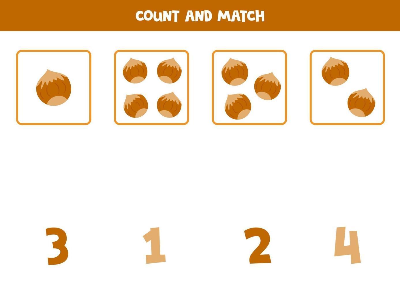 räkna spel med tecknade nötter. pedagogiskt matematikspel för barn. vektor