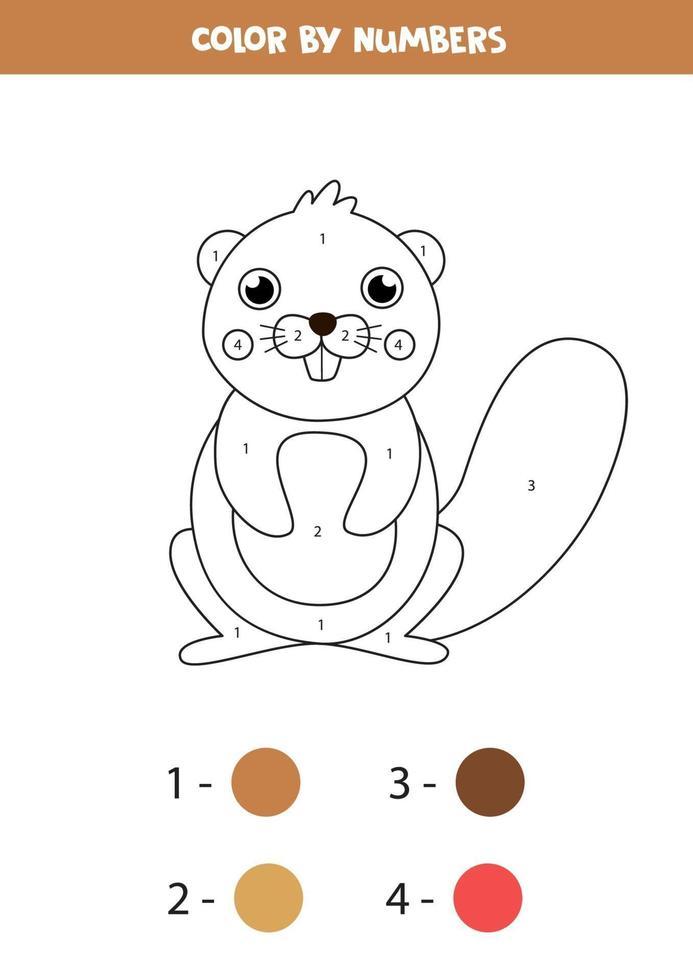 målarbok med söt tecknad bäver. pedagogiskt spel. vektor