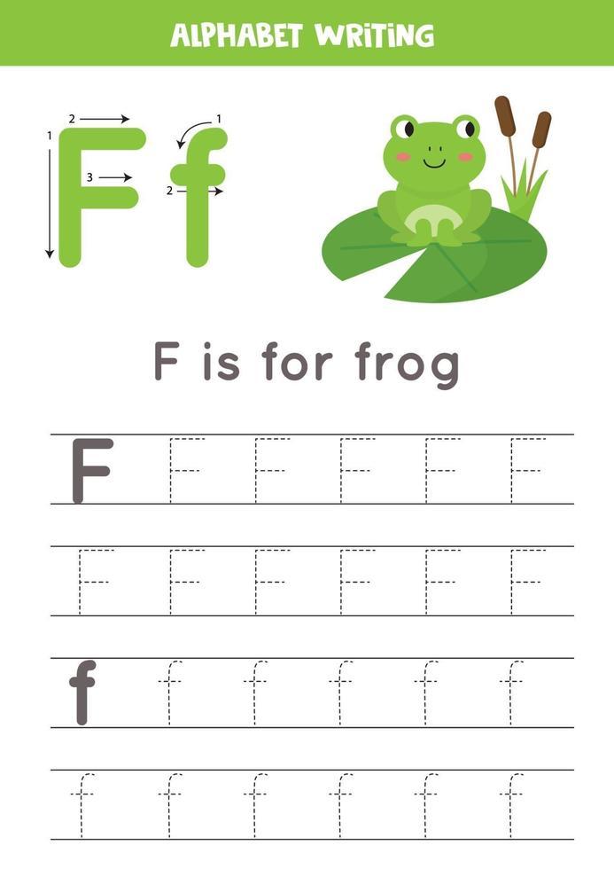 handstil övning med alfabetet bokstaven. spårning f. vektor