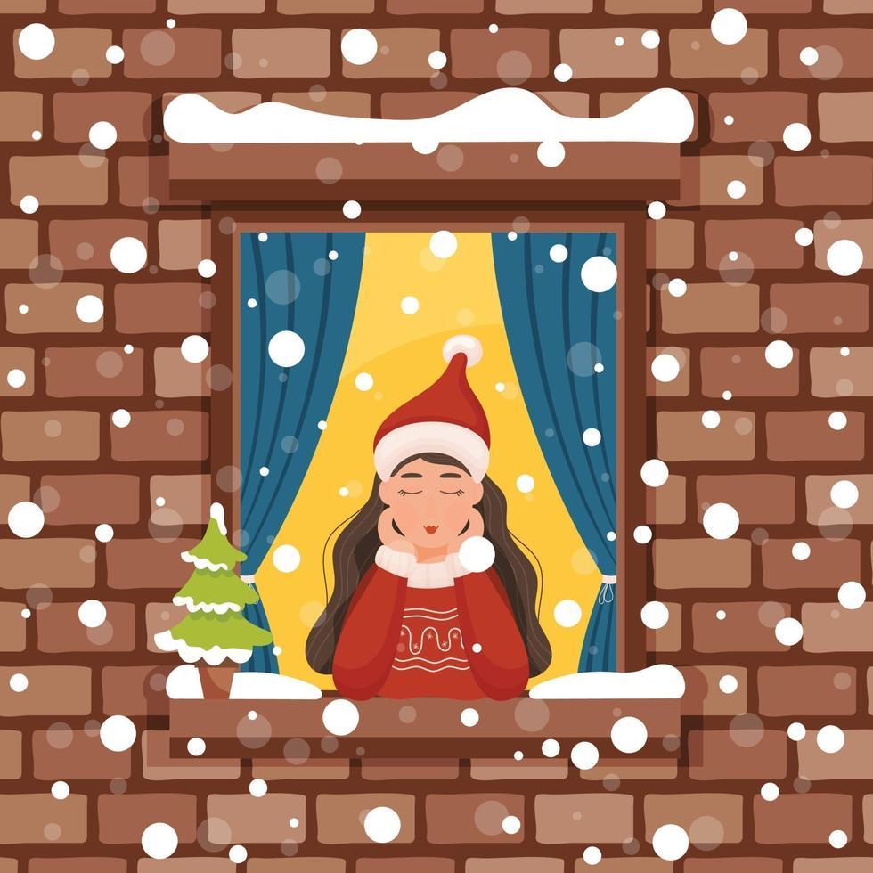 Weihnachtsmädchen, das vom Fenster schaut vektor