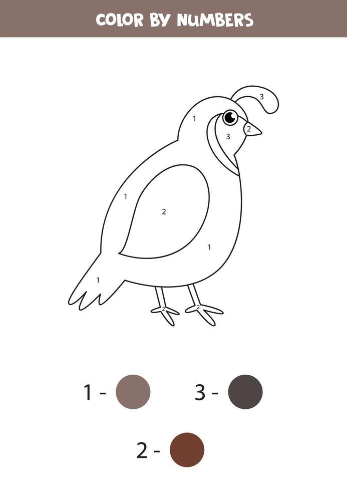 måla söt tecknad vaktel med siffror. matematikspel. vektor