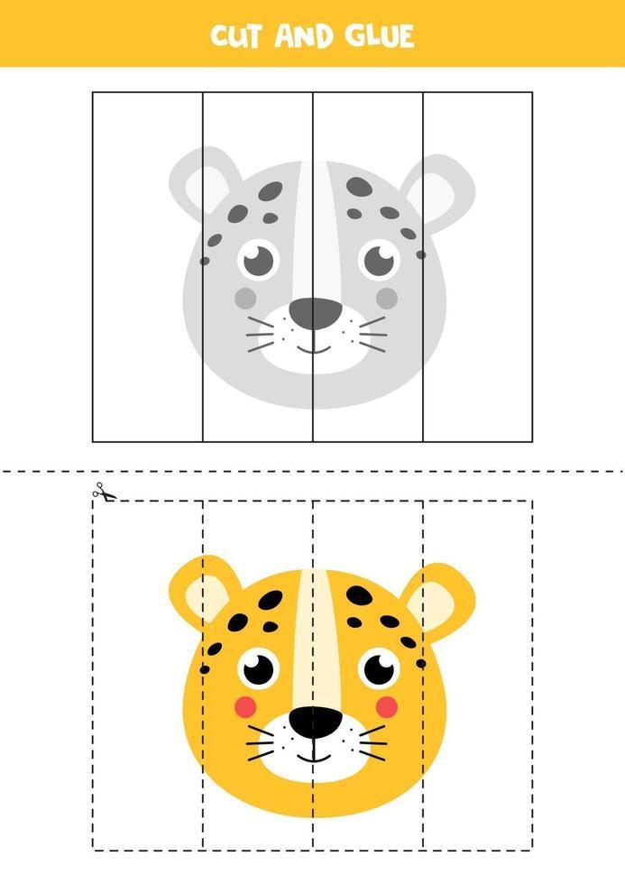 klipp och lim spel för barn. tecknad leopard. vektor