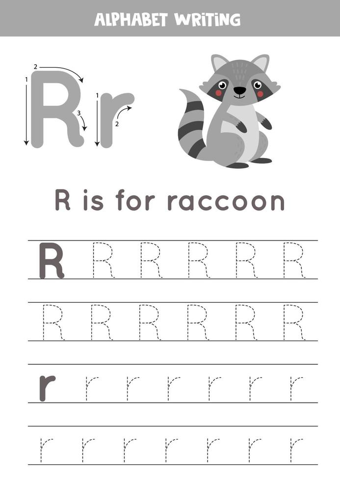 handstil övning med alfabetet bokstaven. spåra r. vektor