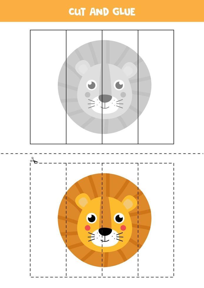 klipp och lim spel för barn. tecknad lejon ansikte. vektor