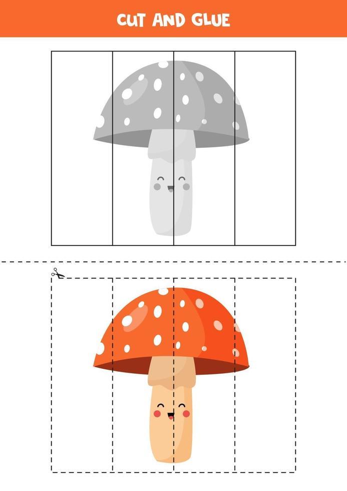 klipp och lim spel för barn. tecknad svamp. vektor
