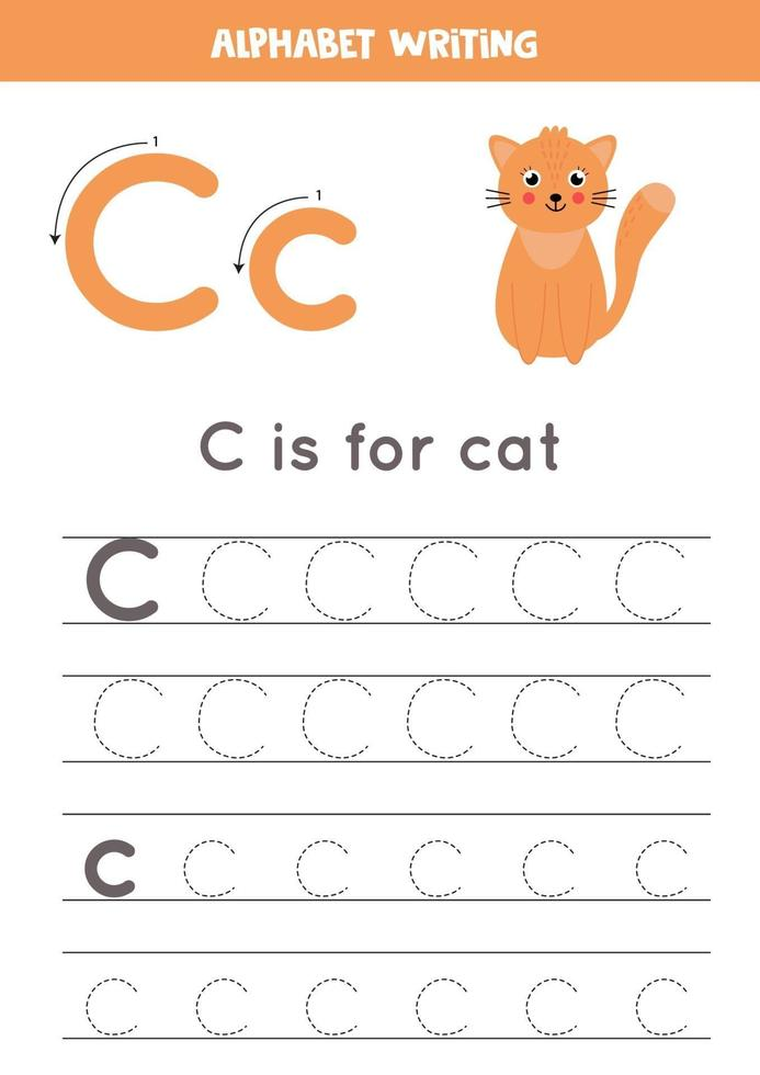spåra alfabetet bokstaven c med söt tecknad katt. vektor
