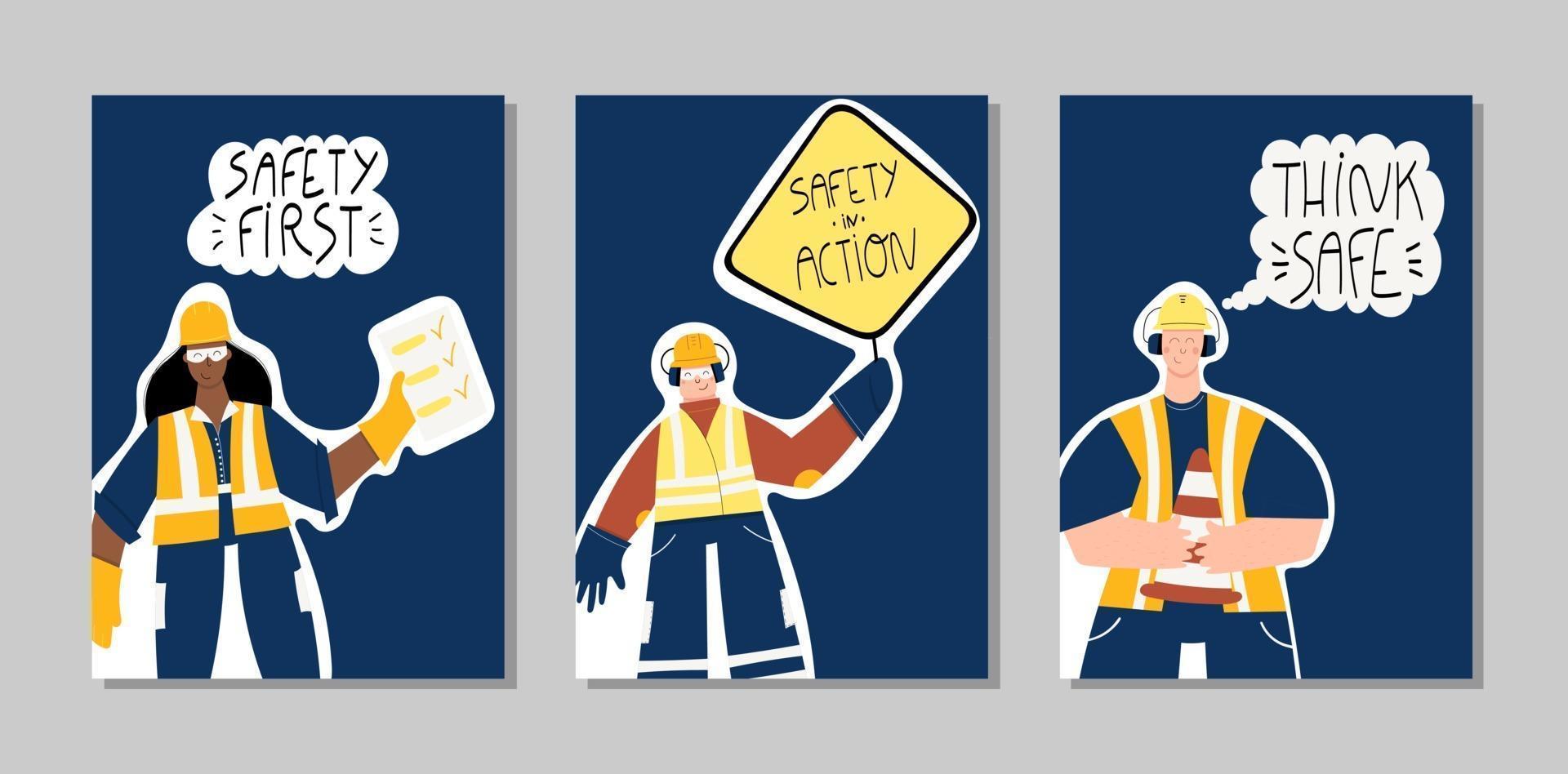 säkerhet första industriella handritade affischer vektor