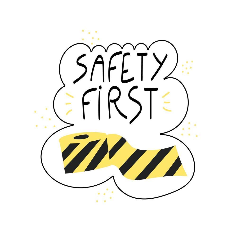 säkerhet första handskrivna frasen svart och gult band vektor