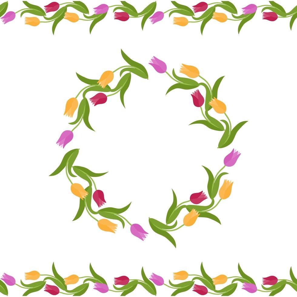 blommig dekor för gratulationskort vektor