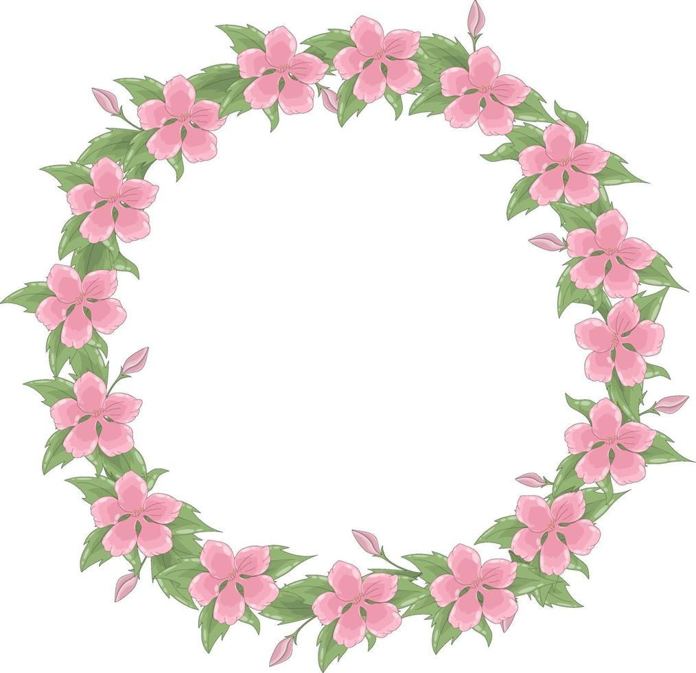 vektor krans av många känsliga rosa blommor och bladverk. vårramen har en plats för text inuti