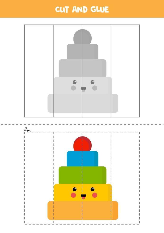 klipp söt kawaiipyramid och lim den. vektor