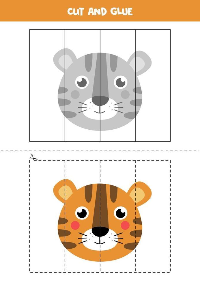 Spiel zum Schneiden und Kleben für Kinder. süßes Tigergesicht. vektor