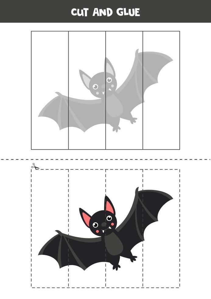 klipp och lim spel med svart vampyrfladdermus. vektor