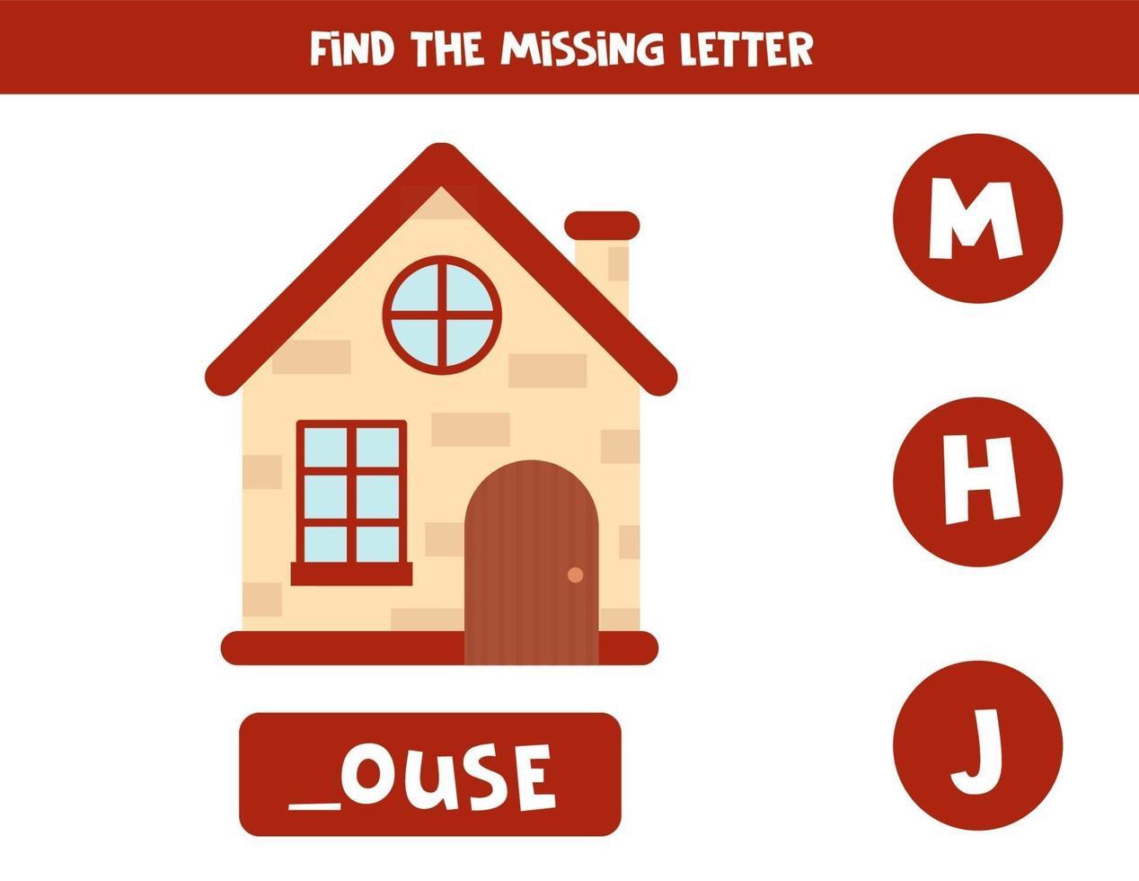 hitta saknat brev och skriv ner det. söt tecknad hus. vektor