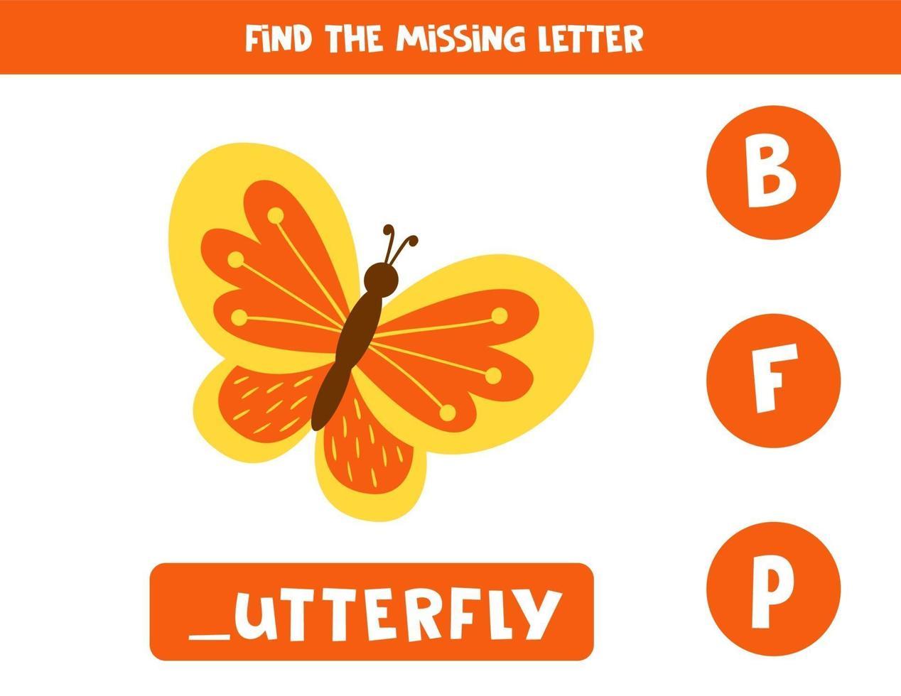 Finde den fehlenden Brief und schreibe ihn auf. süßer Cartoon-Schmetterling. vektor