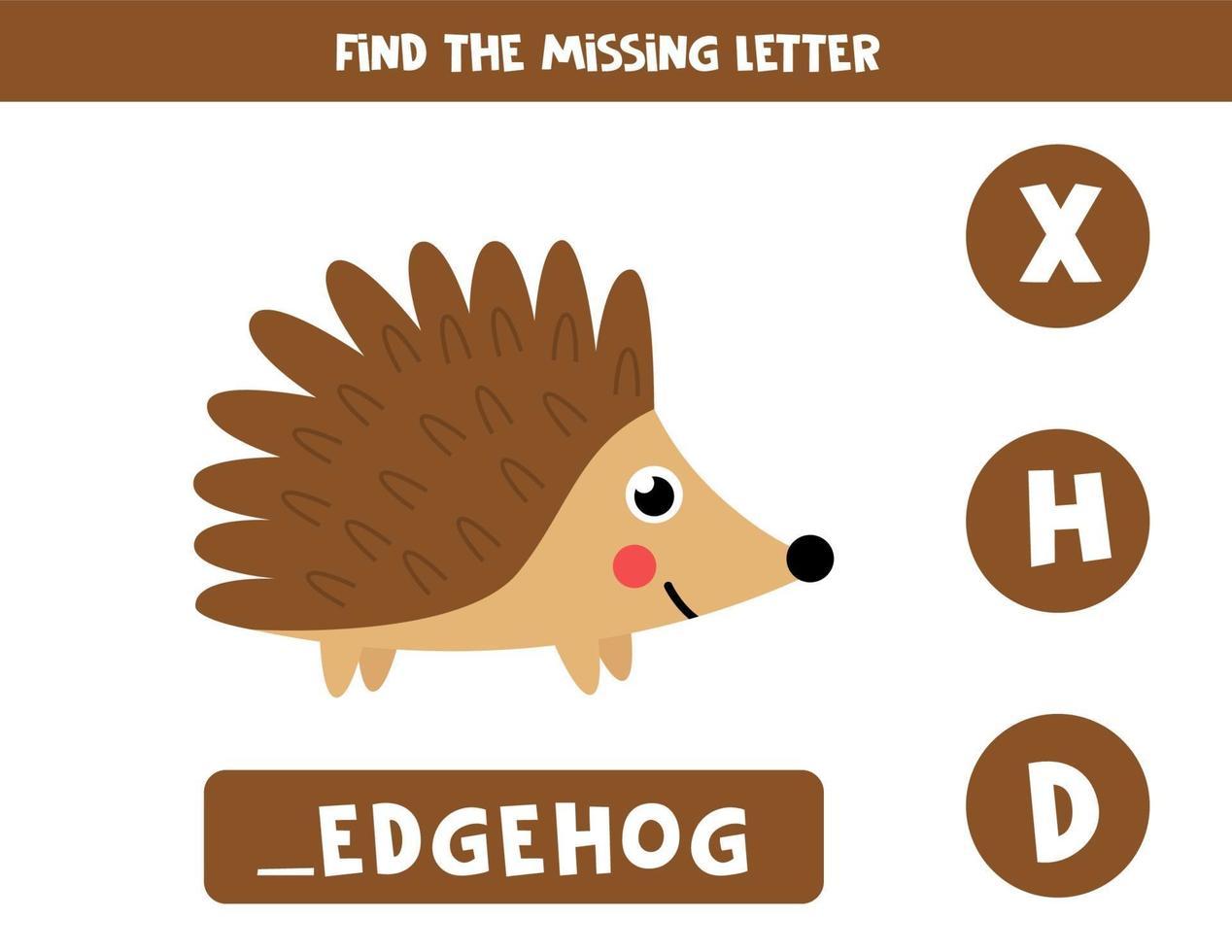 hitta saknat brev och skriv ner det. söt tecknad igelkott. vektor