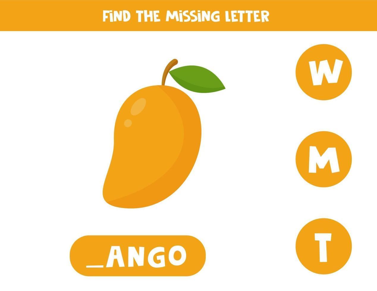 Finde den fehlenden Brief und schreibe ihn auf. süße Cartoon Mango Frucht. vektor