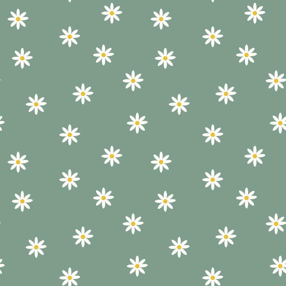 snygg sömlös djupgrön bakgrund med kamomillblommor. blommigt modernt tryck. perfekt för tyg, tapeter, textil, förpackning. vektor enkel mall.