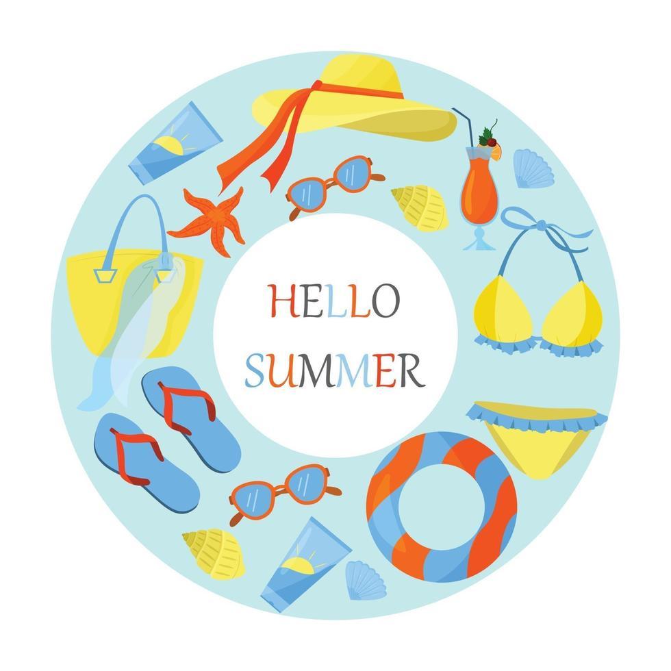 ett koncept på temat en strandsemester. platt vektorillustration. ljusa sommarfärger. havssäsong. vektor