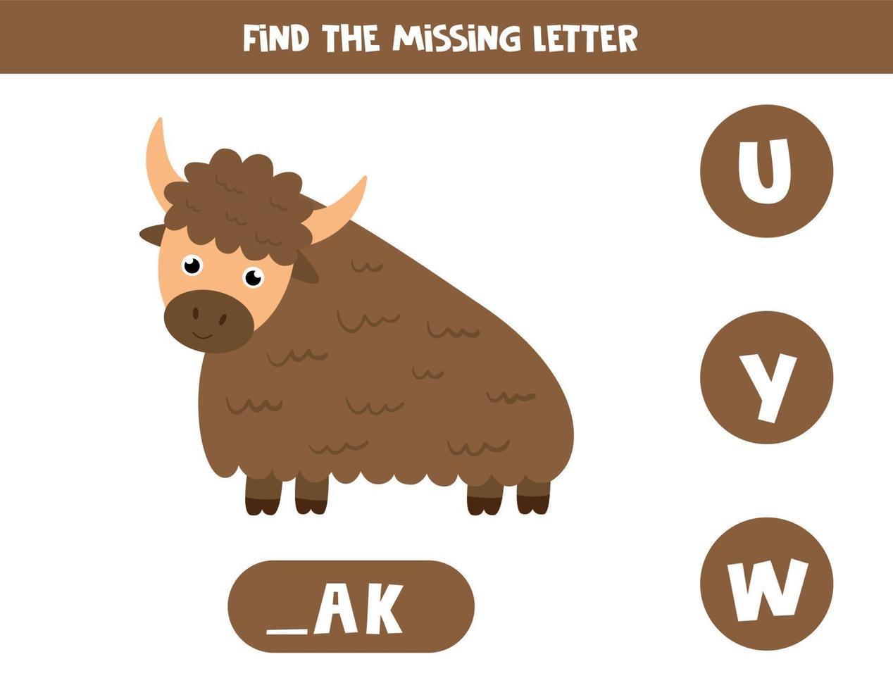 Finde den fehlenden Brief mit dem niedlichen Cartoon-Yak. vektor