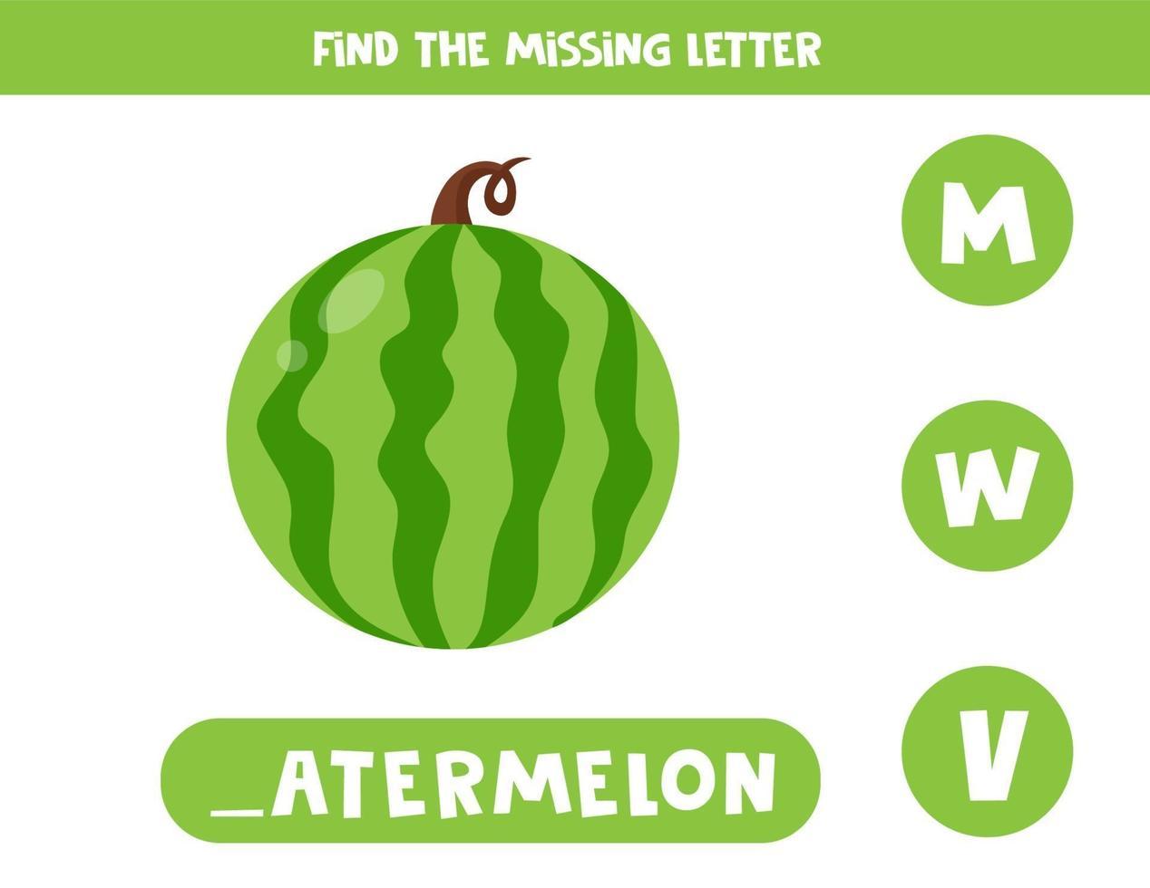 Finde den fehlenden Brief und schreibe ihn auf. süße Cartoon Wassermelone. vektor