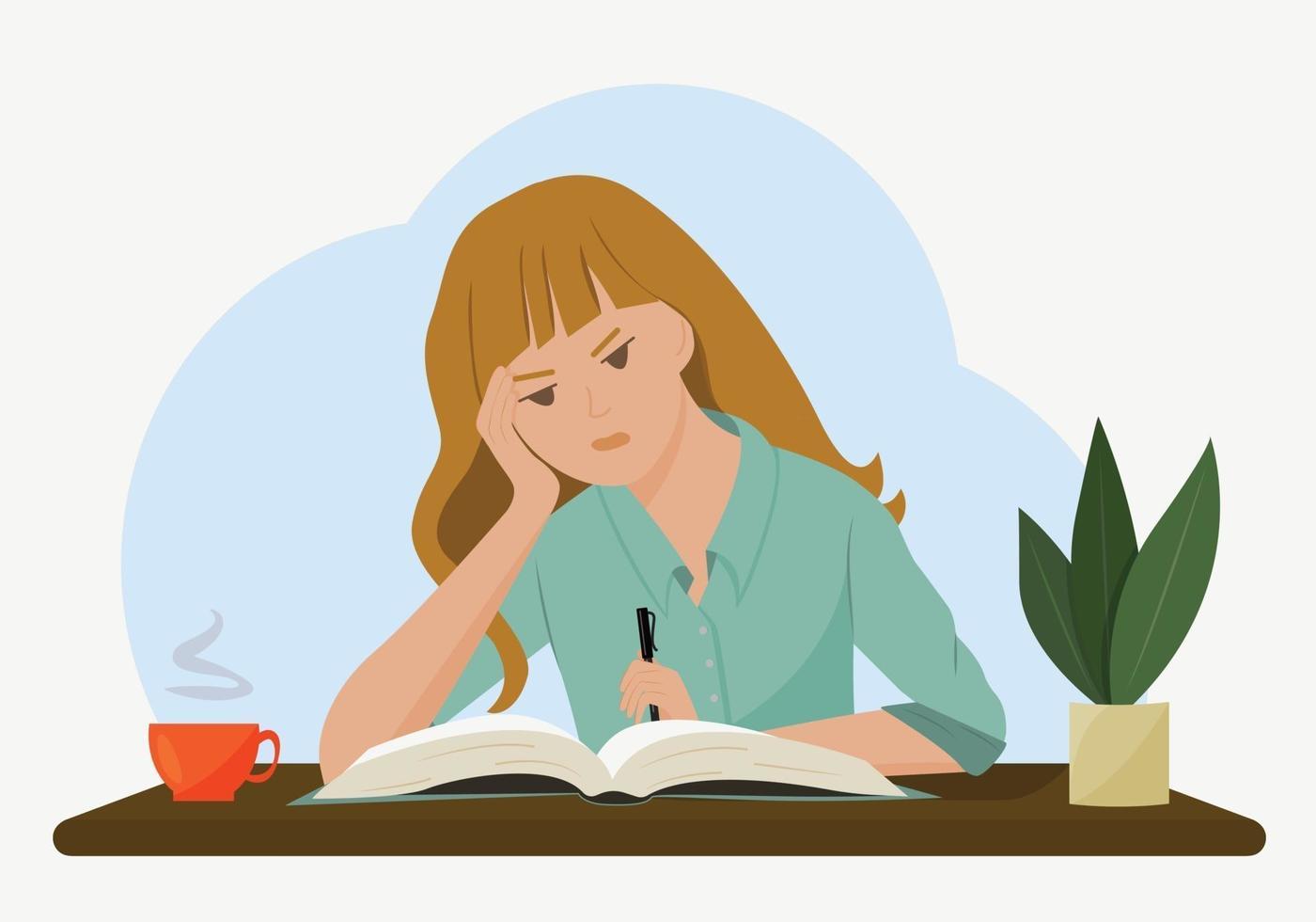 vektorillustration av en flicka vid ett skrivbord. studenten funderade på att göra sina läxor. begreppet tunga, omöjliga läxor. ritning i platt stil. vektor