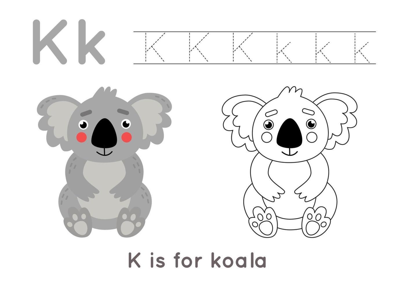 färg- och spårningssida med bokstaven k och söt tecknad koala. vektor