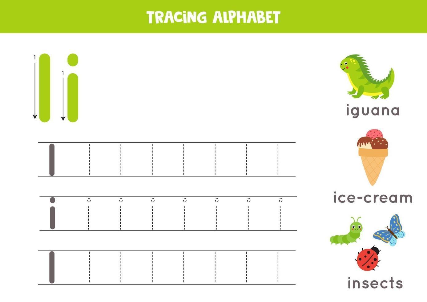 handstil övning med alfabetet bokstaven. spåra i. vektor