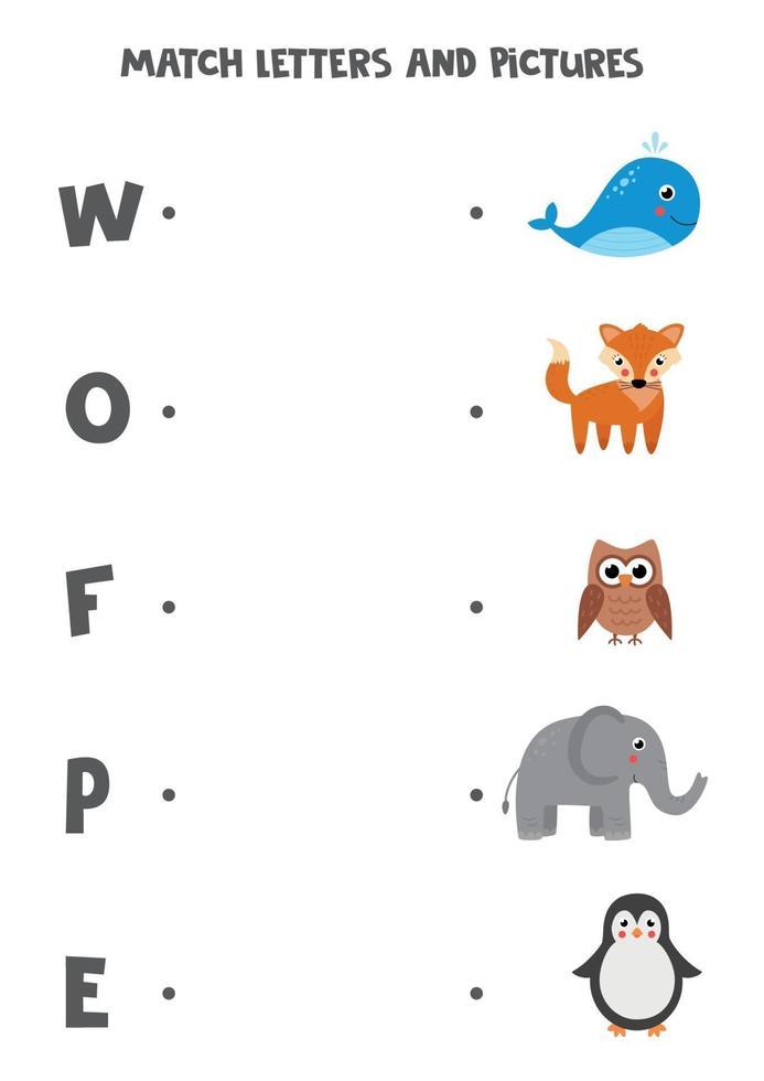 matchande spel för barn. hitta bild och bokstav det börjar med. vektor