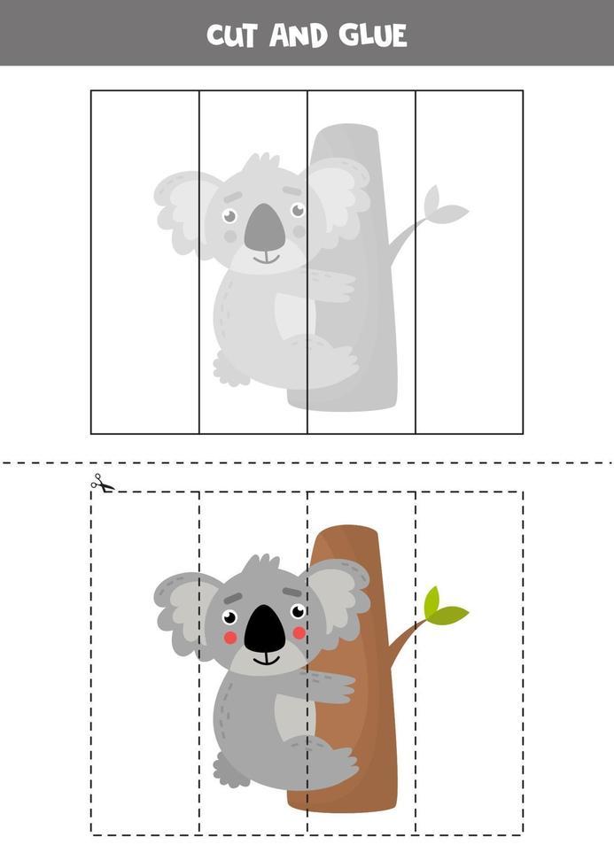 klipp och lim spel för förskolebarn. söt tecknad koala. vektor