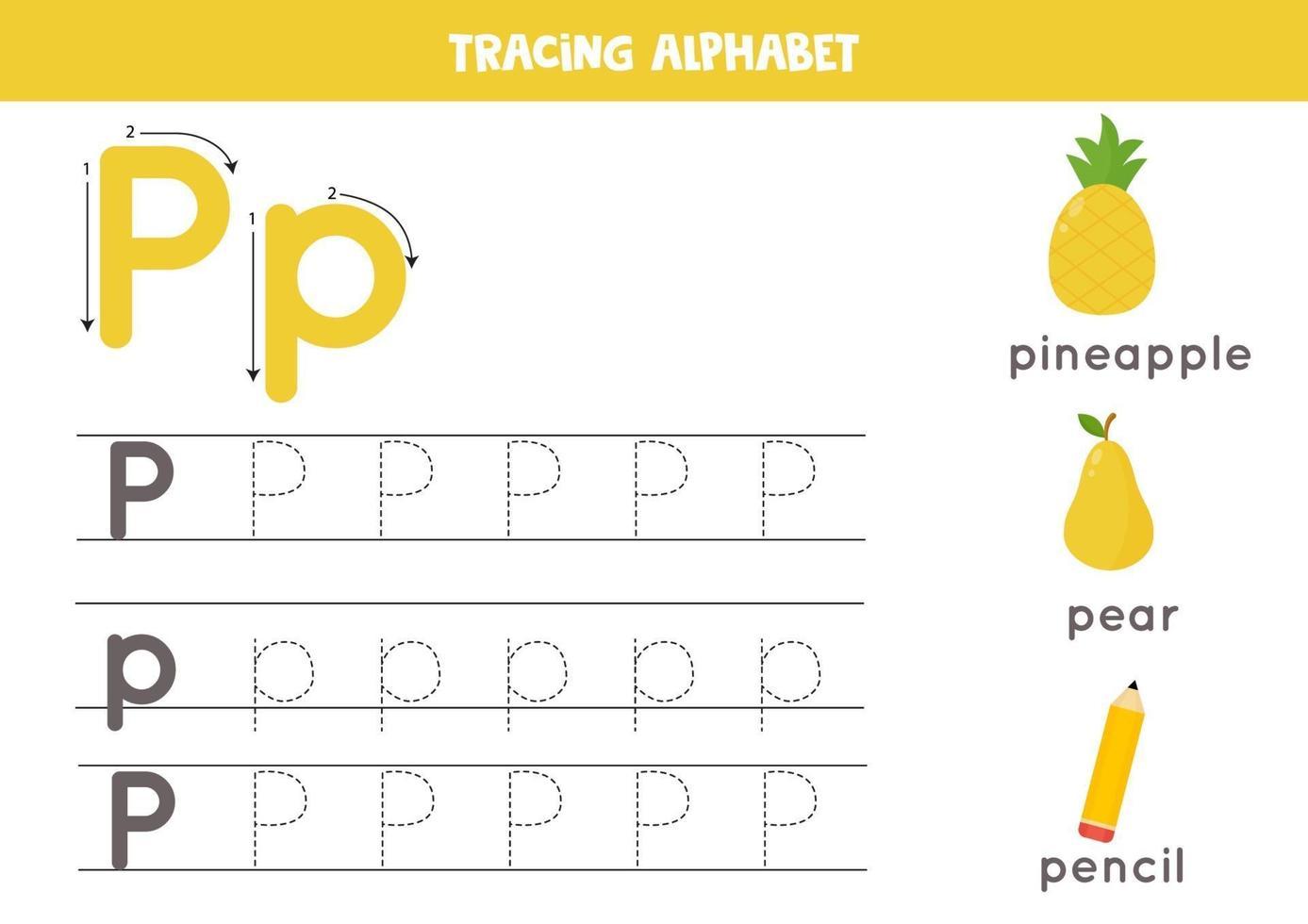 spåra alfabetet bokstaven p med söta tecknade bilder. vektor